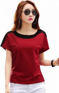 Color Block Women Round Neck Red T-Shirt