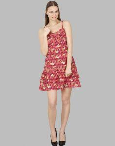 Women Cotton Western Wear Layered Red Dress