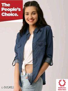 Women's Stylish & Fashionable Denim Shirt (Pack of 1)
