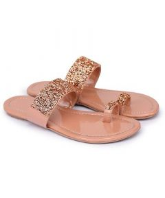 Fancy Pink Synthetic Material Embellished One Toe Slippers for Womens