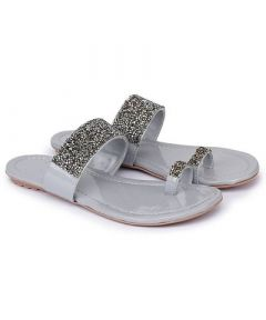 Fancy Grey Synthetic Material Embellished One Toe Slippers for Womens