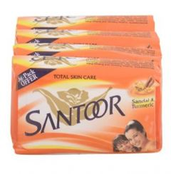 Santoor Soap for Nourished Glowing Skin Sandal and Turmeric (4x75g) (Set of 4)