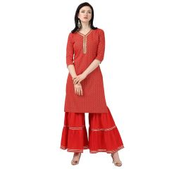Daisy Crepe Green Printed Ethnic Wear Kurti with Sarara Womens (Color:-Red)