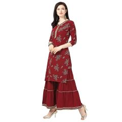 Womens Crepe Maroon Printed Ethnic Wear Kurti with Sarara (Color:-Maroon)