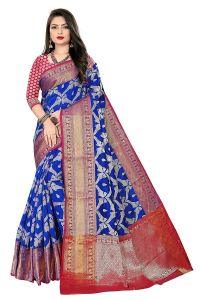 Kanchipuram Banarasi Silk Blend Woven Jacquard Mor Work Saree for Women