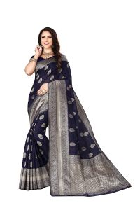 Silk Fabric Banarasi Saree With Unstitched Blouse Piece for Womens
