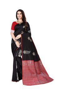 Lichi Banarasi Silk Fabric Saree With Unstitched Blouse Piece Womens