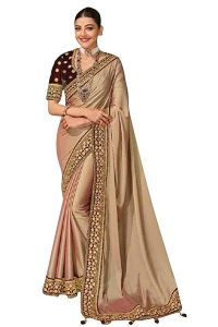 Heavy Embroidery Worked Pure Silk Fabric Designer Saree for Womens