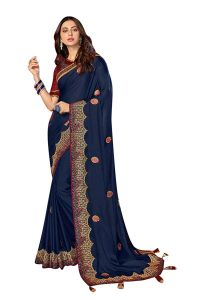 Silk Fabric Saree with Unstitched Blouse Piece for Womens (Color-Navy Blue)