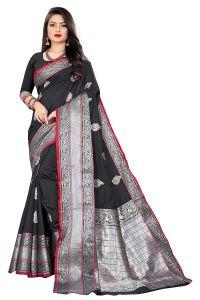 Kanchipuram Banarasi Silk Blend Jacquard Saree for Women