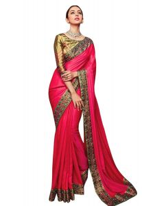 Silk Fabric Saree with Unstitched Blouse Piece for Womens (Color-Pink)