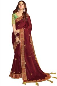 Silk Fabric Saree with Unstitched Blouse Piece for Womens (Color-Maroon)
