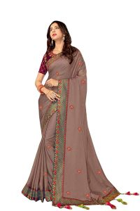 Silk Fabric Saree with Unstitched Blouse Piece for Womens (Color-Light Grey)