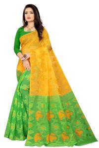 Handloom Woven Pure cotton Soft Silk Light weight Half & Half Transparent Saree with Blouse Piece for Womens
