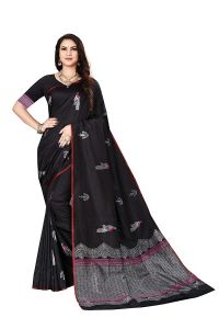 Peacock Work Banarasi Silk Saree With Unstitched Blouse Piece for Womens