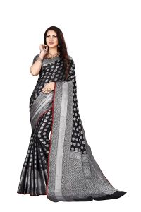 Gola Work Banarasi Silk Saree With Unstitched Blouse Piece for Womens