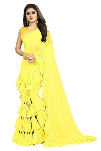Comfortable and Stylish, Beautiful Georgette Ruffle Saree with Blouse