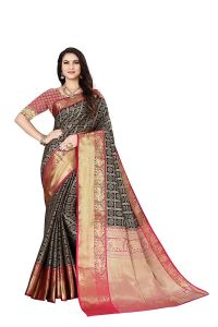 Banarasi Silk With Box Pattan Saree With Unstitched Blouse Piece for Womens