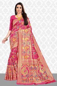 Stylish and Fashionable Cotton Silk BanarasiPrinted Saree For Women's