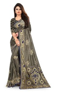 Comfortable and Stylish, Beautiful Bollywood Lycra Blend Saree with Blouse