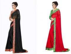 Stylish and Fashionable Woven Bollywood Chiffon Saree For Women's (Multi-Color) (Pack of 2)