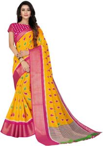 Stylish and Fashionable Cotton Blend Ikkat Printed Saree For Women's