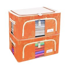 Homeoculture Living Storage Boxes For Clothes | Saree Cover 24 Litre (Pack of 2) (Orange)