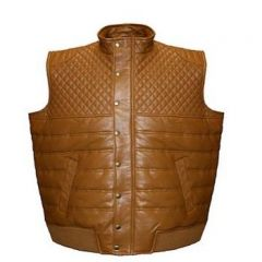 ASPENLEATHER Franchise Club Satin-Lined Quilted Leather Vest (Tan)