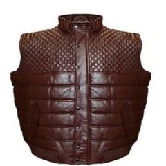 ASPENLEATHER Franchise Club Satin-Lined Quilted Leather Vest (Burgundy)