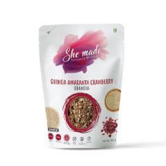 She Made Quinoa Amaranth Cranberry Granola (Pack of 2) (250gm x 2)