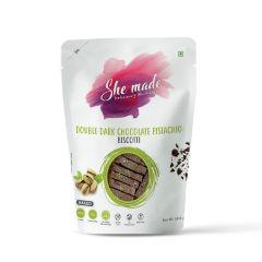 She Made Double Dark Chocolate Pistachio Biscotti (Pack of 2) -56.6gm*2