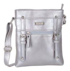 ASPENLEATHER Silver Genuine Leather Cross Body Bag