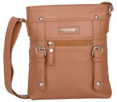 Splash USA Tan Genuine Leather Cross Body Bag For Women