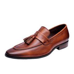 SCHMITZ Handpainted Brown & Tan Slip-On Genuine Leather Loafers
