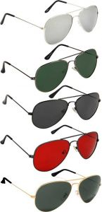 Trendy & Cool UV Protection, Mirrored Aviator Sunglasses For EMn & Women (Silver, Green, Black, Red, Green) (Pack Of  5)