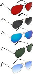 Trendy & Cool Gradient, UV Protection Aviator Sunglasses For Men & Women(Multicolor) (Pack Of 5)
