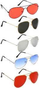 Trendy & Cool 100% UV Protection, Gradient, Mirrored Aviator Sunglasses For Unisex (Pack Of 5)