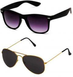 Stylish UV Protection Wayfarer Sunglasses For Men & Women (Free Size) (Black) (Pack Of 2)