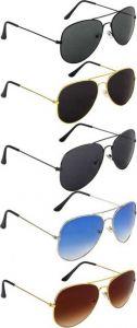 Trendy Gradient, UV Protection Aviator Sunglasses For Men & Women (Pack of 5)