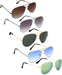 Gradient, Mirrored, UV Protection Aviator Sunglasses, Metal Frame | Ideal For Men & Women (Pack Of 5)