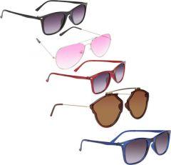 Stylsh Gradient, UV Protection Aviator Sunglasses For Men & Women (Pack Of 5)
