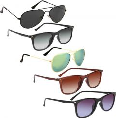 Trendy & Cool 100% Gradient, UV Protection Aviator Sunglasses For Unisex (Black, Grey, Green, Brown) (Pack Of 5)