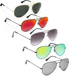 Mirrored, UV Protection Aviator Sunglasses, Full Frame | Ideal For Men & Women (MultiColor) (Pack Of 5)