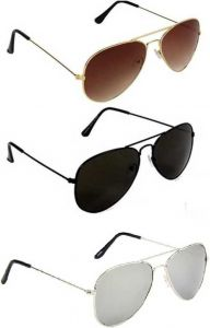 Trendy & Cool Mirrored, UV Protection, Gradient Aviator Sunglasses For Unisex (Free Size) (Silver, Brown, Black) (Pack Of 3)
