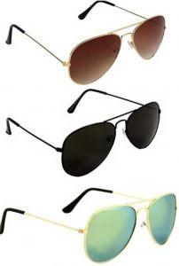 Trendy UV Protection, Mirrored Aviator Sunglasses For Men & Women (Free Size) (Pack Of 3)
