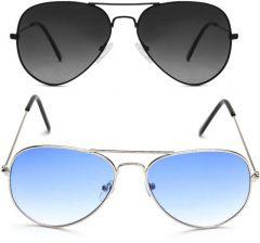Gradient, UV Protection Aviator Sunglasses, Metal Frame | Ideal For Men & Women (Black, & Blue) (Pack Of 2)