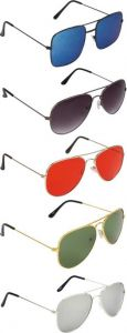 Trendy & Fashinable Gradient, UV Protection Aviator, Retro Square Sunglasses For Men & Women (Pack Of 5)