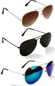 Trendy & Fashinable Gradient, Mirrored, UV Protection Aviator Sunglasses For Men & Women (Free Size) (Pack Of 3)