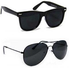 Trendy Gradient, UV Protection Aviator Sunglasses For Men & Women (Black) (Pack Of 2)