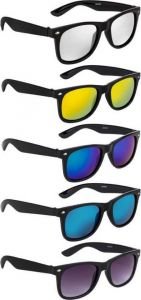 Mirrored Wayfarer Sunglasses | UV Protection For Unisex (Free Size | Multicolor) (Pack Of 5)